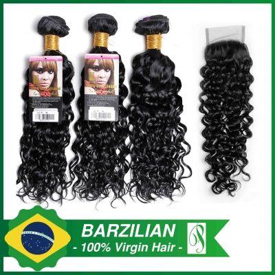 9A Brazilian Curl 300g with a Closure (3+1)