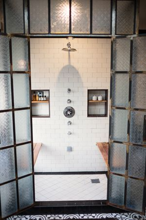 Industrial chic bathroom :deirdre doherty interiors   interior design   los angeles