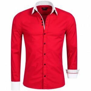 Rood heren stretch overhemd met witte dubbele kraag van het merk KC Black. Deze nette slim fit overhemden hebben een zakelijke uitstraling, maar zijn ook zeer geschikt als vrijetijdskleding.