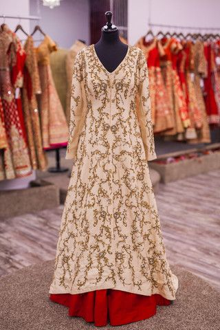 Champagne Dupion Silk Lacha With a Red Lengha