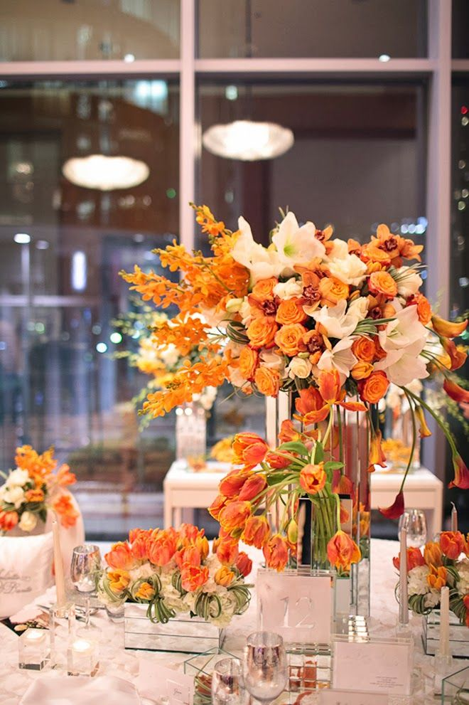 gorgeous orange and white wedding centerpieces - fall wedding inspiration! ~  we ❤ this! moncheribridals.com