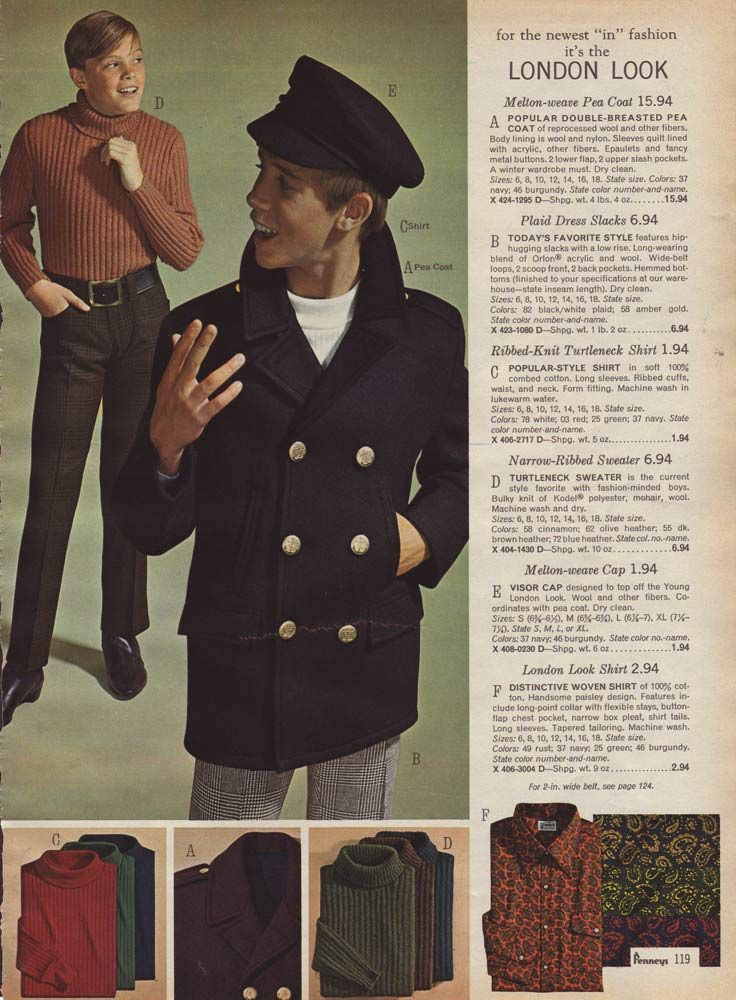 "Vintage Boys' ""London Look"" from a 1966 catalog. #mod"