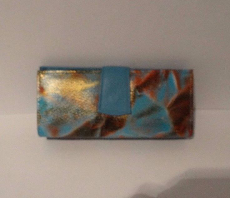 100% Leather Womans Trifold Wallet with Exotic Animal Print in Aquamarine Blue #Unbranded #Trifold