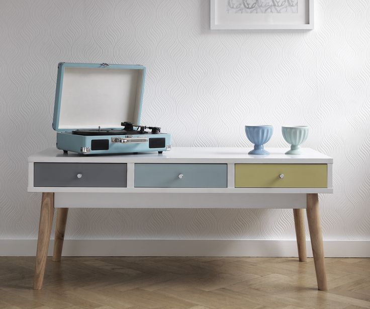 Add some retro style to your home with the Hygena Lumina Drawer Coffee Table. Av...