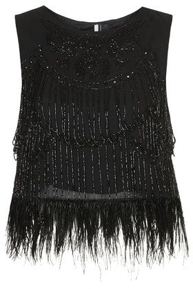 Limited Edition Feather and Bead Shell Top