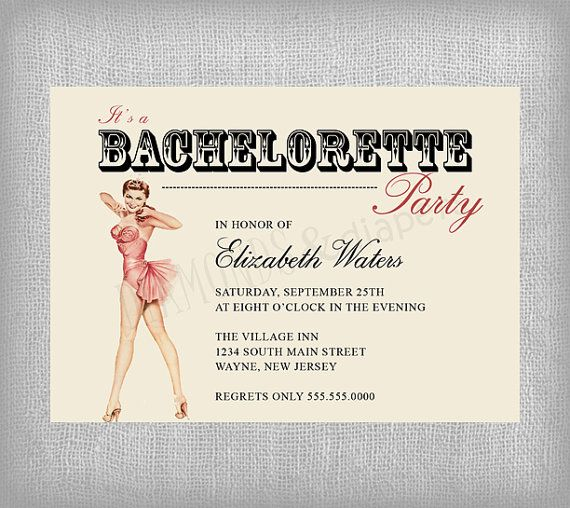 Printable Bachelorette Invitation Vintage by diamondsndiapers, $18.00