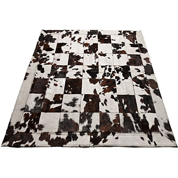 Rembrandt Patchwork Animal Hide Rug, Black & White