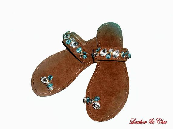 Luxurious Women's Leather Sandals - Suede  Brown with stones