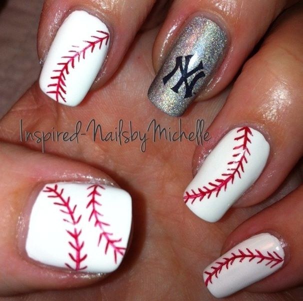 #baseball #nails Awesome other than that Yankees logo
