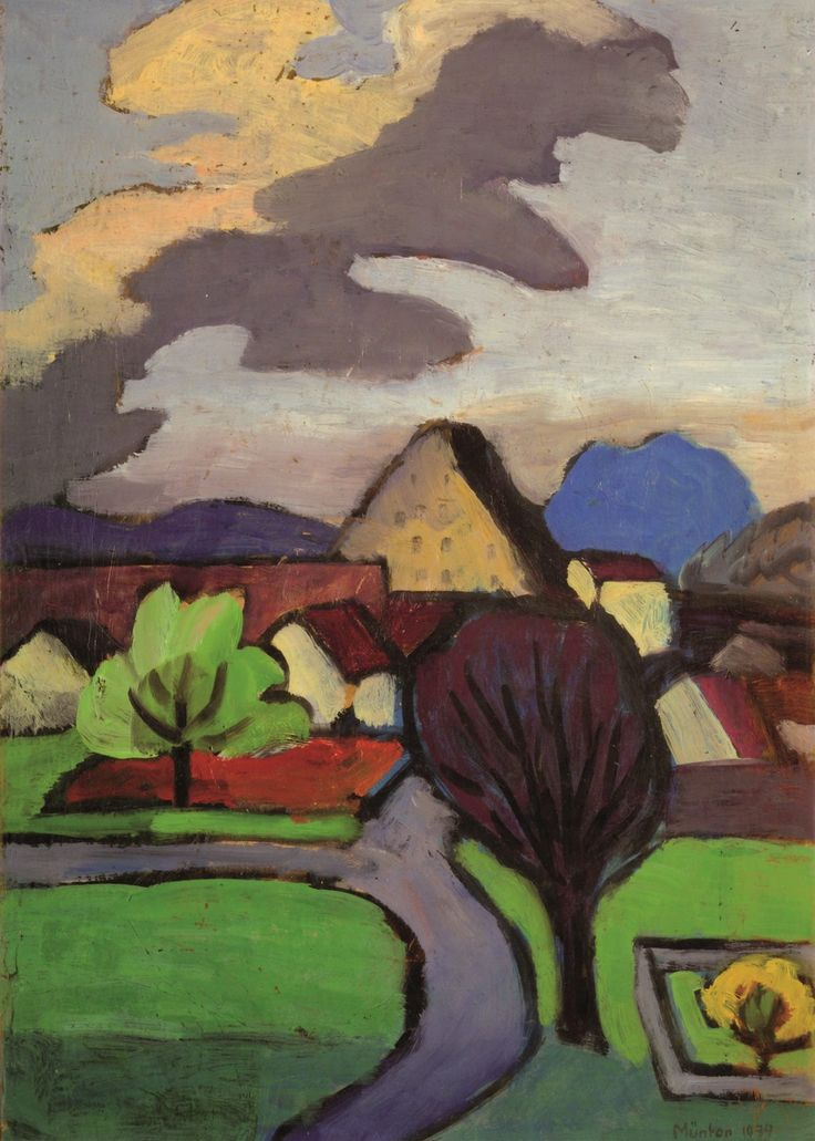 Gabriele Munter together with Wassily Kandinsky and Franz Marc, was a founding member of Der Blaue Reiter (The Blue Rider), an influential group of German Expressionsts. - She worked in this highly stylized manner of her early career, which emphasized simplified forms and expressive use of line and color.