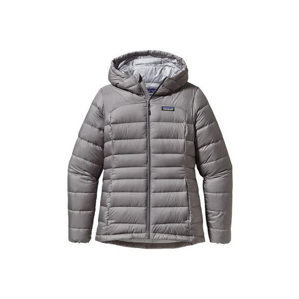 Women's Patagonia Hi-Loft Down Sweater Hoody - Feather Grey Jackets ($279) ❤ liked on Polyvore featuring activewear, activewear jackets, grey, patagonia sportswear and patagonia