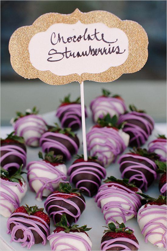 chocolate covered strawberries | bridal shower treats | purple and gold bridal shower | #weddingchicks