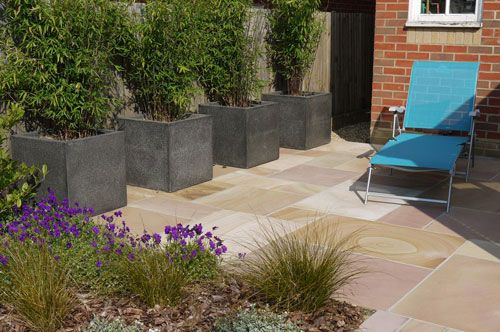 Terrazo Pots Planted With Fargesia Nitida Red Panda Hide