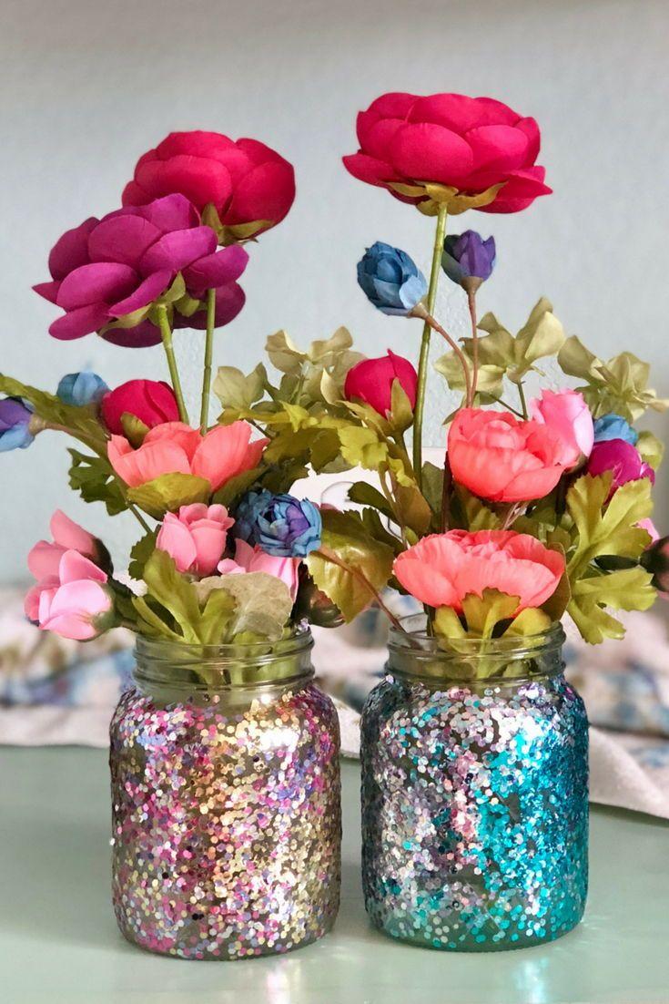Diy Glitter Flower Vase Flower Vase Diy Flower Vase Crafts Diy