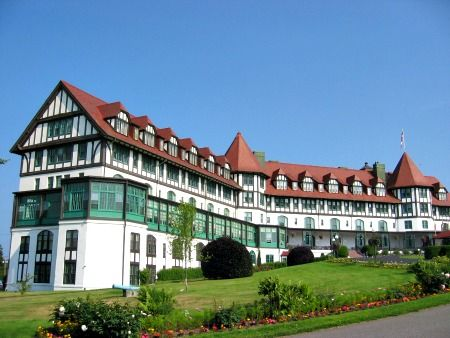 The Algonquin resort, New Brunswick, Canada: The most well known ghost is that of an old bellhop. He approaches guests and helps them with their things but suddenly disappears when they turn away. Guests have even left tips at the front desk for him since he left before they could do so in person. Room 473 is often known as the brides room since the spirit there is thought to be that of a bride who broke up with her fiance on the day of their wedding. Crying has been heard coming from that…