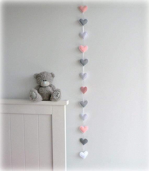 Verticle Heart garland - Pink, gray and white - felt hearts - nursery could make and hang by the door.