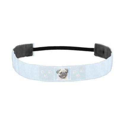 Pug Athletic Headband - drawing sketch design graphic draw personalize