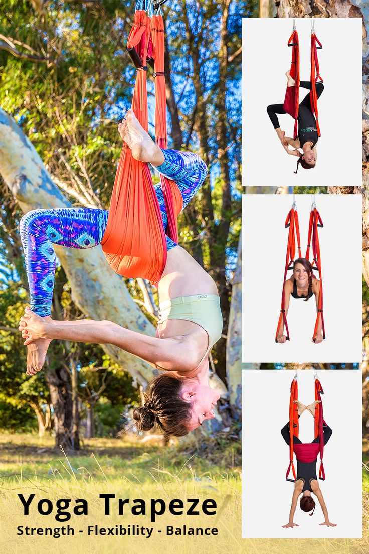 Back Pain Gone in Just 7 Minutes Upside-Down!  Try the Yoga Trapeze for $1.  The Yoga Trapeze is the most powerful, at-home yoga inversion tool ever created. Hang from inside from a doorway; or outsid