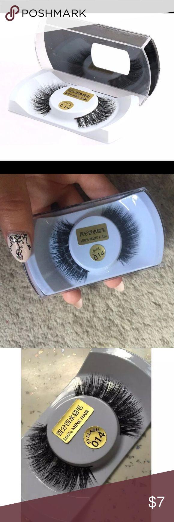 🌿🍃1 pair 100% real mink natural black tick New in box of eyelash 100% real mink natural black tick hair ! Makeup False Eyelashes