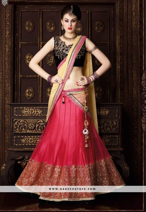Winsome Net Embroidery Work A Line Lehenga Choli