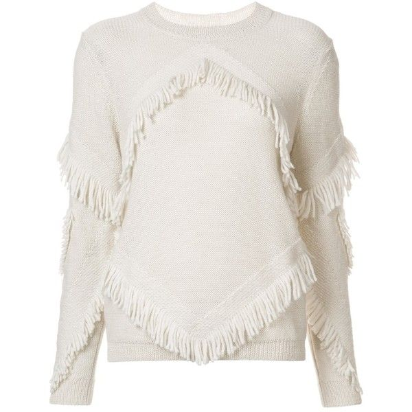 Tanya Taylor 'Inlay Fringe Chacha' sweater (€340) ❤ liked on Polyvore featuring tops, sweaters, white, white top, fringe sweater, fringe tops, white sweater and white fringe top