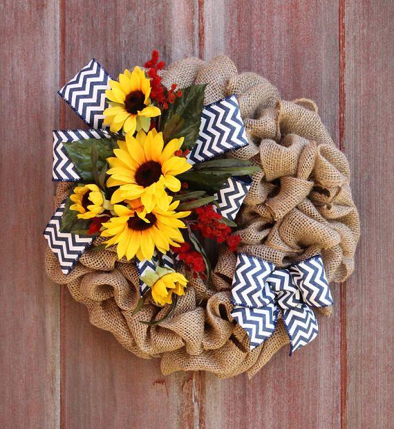 Summer Wreath Small Burlap Wreath Mini Wreath Sunflower