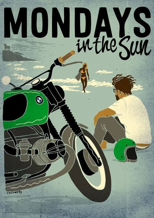 Mondays in the sun ! #illustration #design #motorcycles #motos | caferacerpasion.com