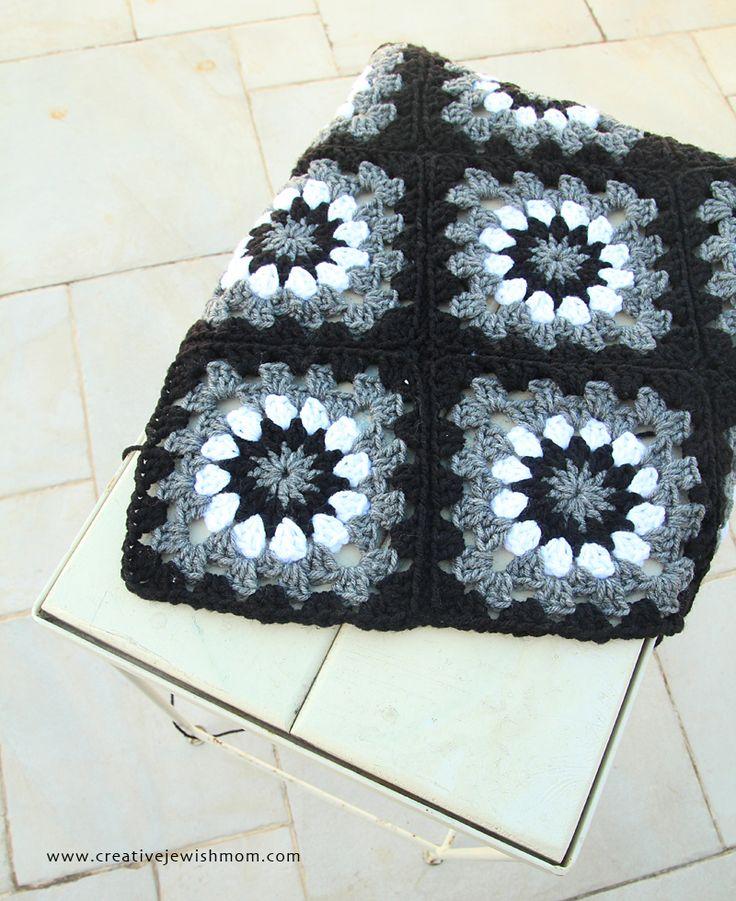 Gray Black White And Gold Bedroom: Granny Squares Black White Grey