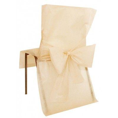 Nouveauté : Ensemble de 10 housses de chaises à nouer confectionnées en non tissé blanc, parfaitement coordonnées aux chemins de table,sets de table ronds et bandes en non tissé.  Les 2 grands pans vous permettent de réaliser un élégant noeud à l'arrière du dossier.   Ensemble de 10 housses de chaises à nouer Convient à tous modèles de chaises