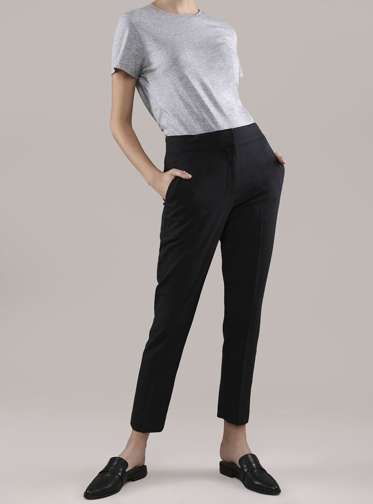 These cigarette pants are the closest to smoking that we'd ever encourage. Dangerously slim and tailored, do we need to say it? Hot.  Crafted from Italian worsted wool Wear true to size for a slim fit Features satin piping on the side seams Waistband detail at the hip