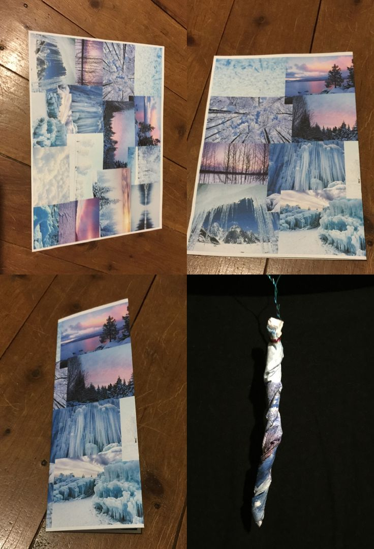 """Experimentation using a moodboard I created to represent """"cold""""-folded, applied glue and water mixture and twisted to create an icicle. Twisted a metal wire around the top to hang."""
