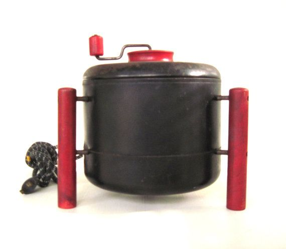 Hand Crank Kitchen Appliances: Antique Popcorn Popper Jolly Time Popcorn Red Black