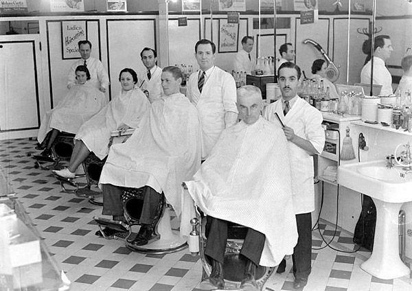 Voici donc l'intérieur du salon de coiffure «The Mist Beauty Parlor», au 4970 rue Sherbrooke Ouest à Montréal. - 1938