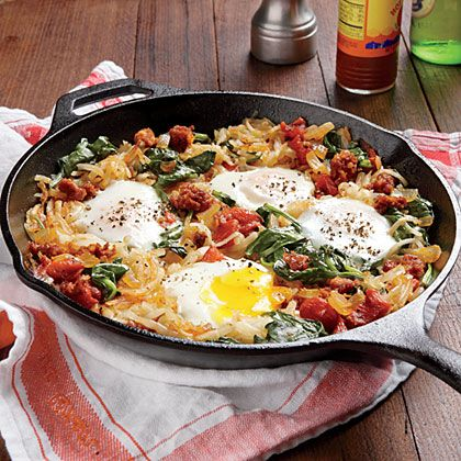 Mexican Chorizo Hash | This breakfast-for-dinner skillet gets heat from spicy Mexican chorizo. Don't stir the potatoes too much as they cook so they crisp in the pan.