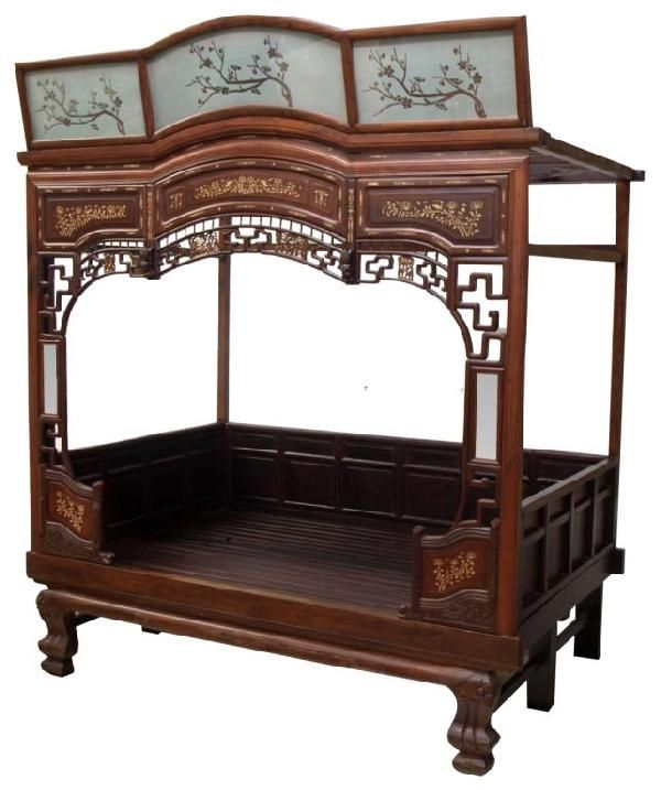 Asian hand carved wood day bed