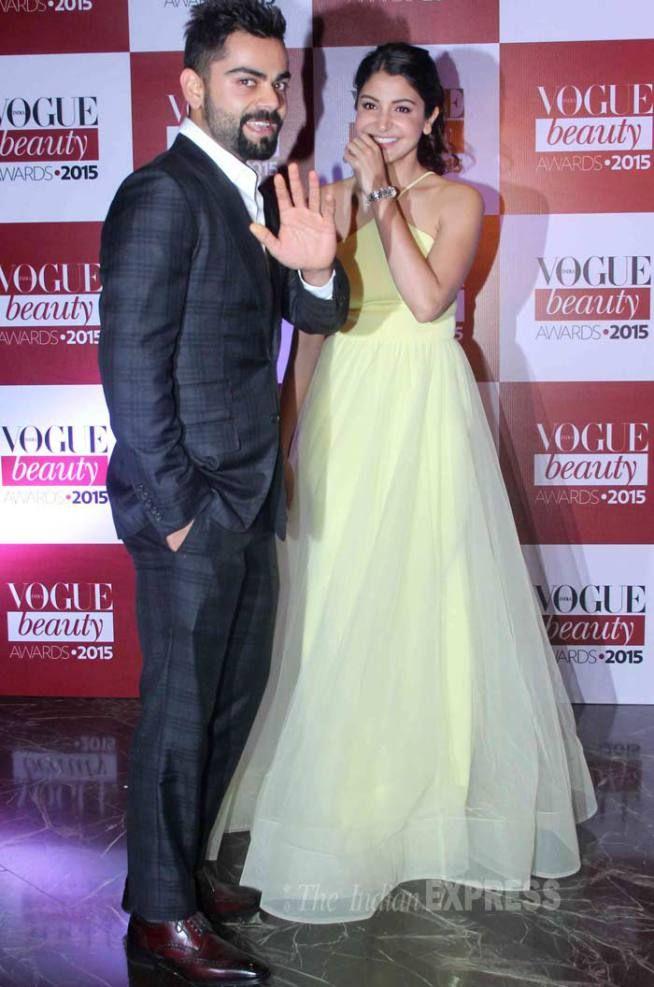 Virat Kohli and Anushka Sharma at Vogue Beauty Awards 2015. #Bollywood #VogueBeautyAwards #Fashion #Style #Beauty #Handsome