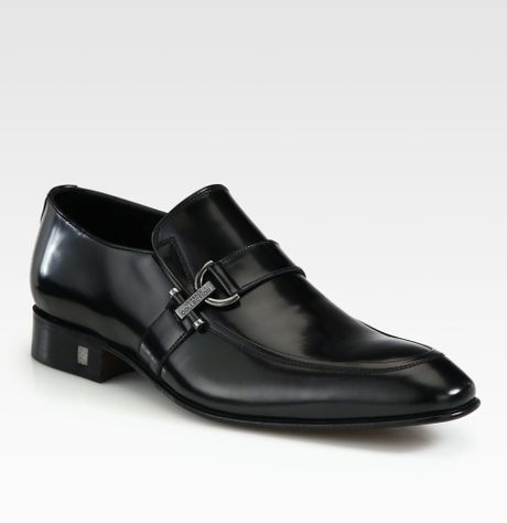 Versace Suede Loafers | Versace Leather Loafers in Black for Men | Lyst