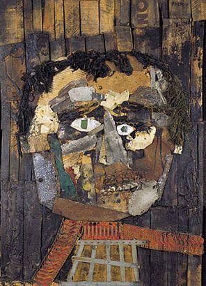 Retrato de Juanito Laguna, 1961, collage s/madera, 147 x 109 cm. Col. privada