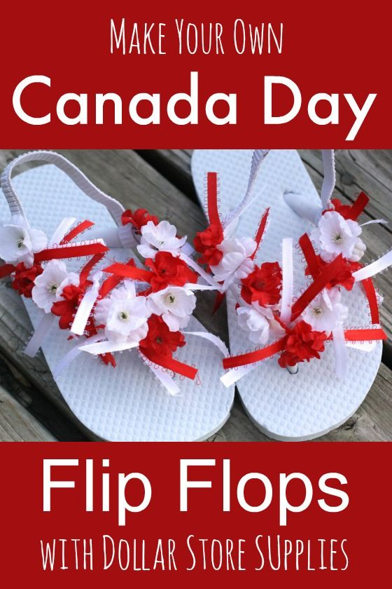 Canada day flip flops! Here's a fun craft for Canada Day! Have the kids decorate flip flops to wear to the Canada Day parade! A fun activity for a 1st of July get-together too! - Happy Hooligans