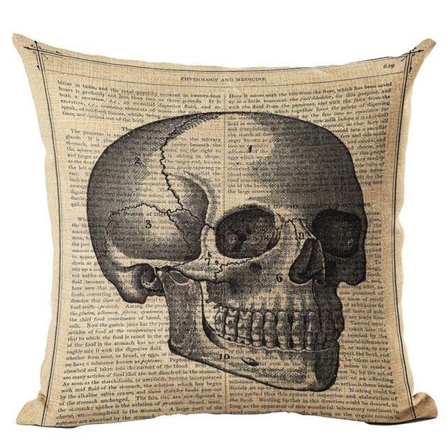 Vintage Flower Skull Cushion Pillow