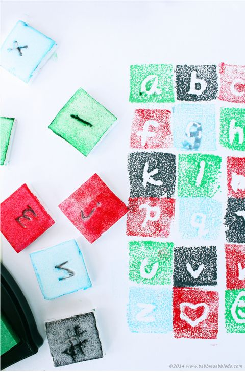 design your own font and make a stamp with recycled styrofoam!