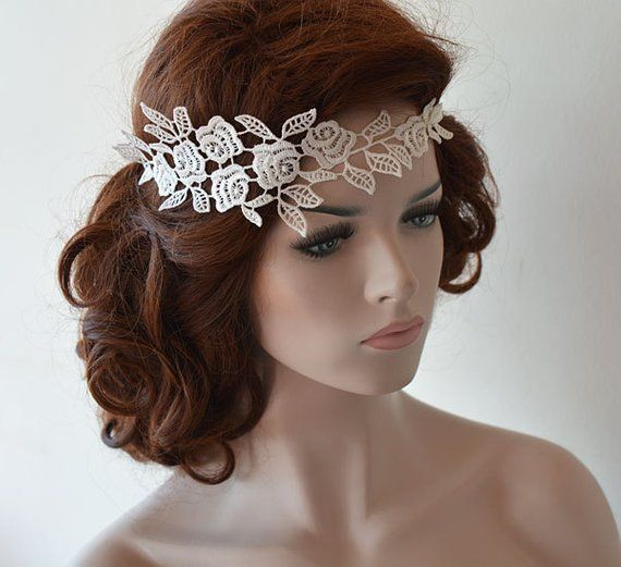 Rustic Lace Wedding Headband,  Ivory Lace Headpiece, Wedding Hair Accessory For Bride, Rustic Lace F