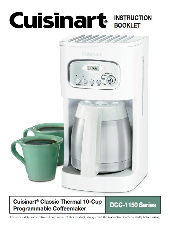 10 Cup Programmable Thermal Coffeemaker Dcc 1150bk Product Manual 10 Things Kitchenware