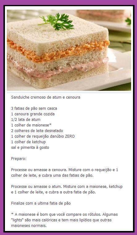Sanduíche cremoso de Cenoura e Atum