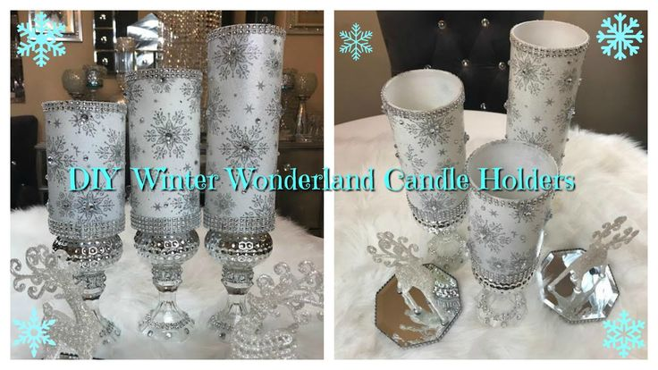 DIY WINTER WONDERLAND CANDLE HOLDERS USING DOLLAR TREE ITEMS.  GO TO MY YOUTUBE CHANNEL TO LEARN HOW AND ENTER MY CONTEST.