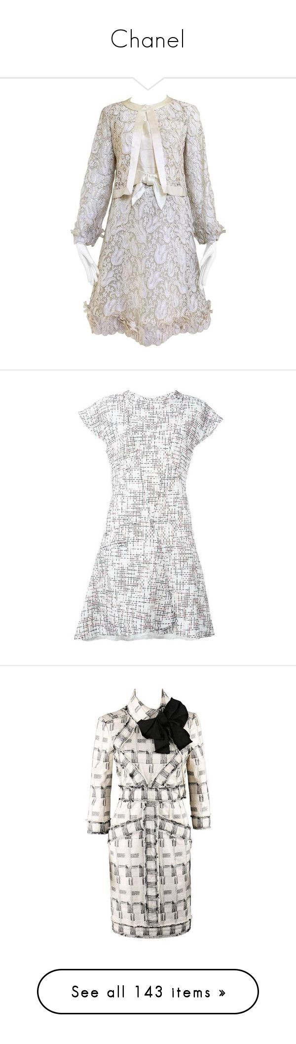 """Chanel"" by arantxaherrera ❤ liked on Polyvore featuring dresses, cocktail dresses, grey, cream cocktail dress, grey dresses, vintage dresses, vintage lace cocktail dress, vintage lace dress, casual dresses and skater skirt"