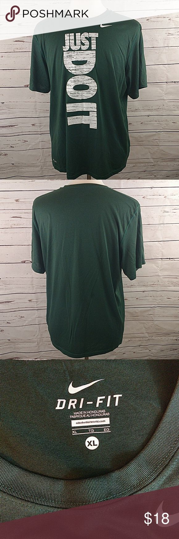"NIKE DRI FIT MENS GREEN SHORT SLEEVE T SHIRT NIKE DRI FIT MENS GREEN SHORT SLEEVE T SHIRT MADE FROM 100% POLYESTER  SIZE XL ARMPIT TO ARMPIT: 23"" COLLAR TO HEM: 30""  EXCELLENT USED CONDITION WITH NO RIPS TEARS OR STAINS  #1325  * Please Remember all Clothing Items may fit differently depending on Brand, Fit, Use or Prior customization. We strongly urge our customer's to check measurements first to guarantee proper fitting Nike Shirts Tees - Short Sleeve"