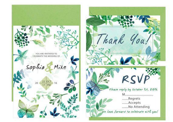 Garden Wedding Invitation Leaves Wedding by LoveArtsStationery
