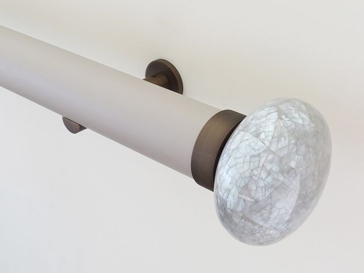 50mm Matt Lacquered pole 'oyster' with Riva Ellipse finial 'grey marlin'