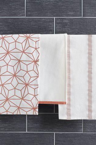 Delightful Buy Set Of 3 Metallic Tea Towels From The Next UK Online Shop